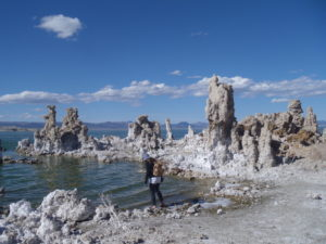 Cautiously walking into the high salt content of Mono Lake